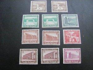 GERMANY 1936 MNH SC# B93/101 ROADS & BUILDINGDS LOT (115)