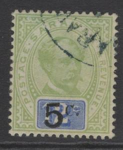 SARAWAK SG25 1889 5c on 12c GREEN & BLUE FINE USED