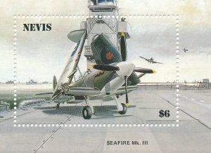 Stamp Sheet Nevis SC 464 1986 Spitfire Fighter Planes 50th Anniversary MNH