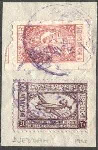 SAUDI ARABIA 1950 Scott C5 Airmail + Tax stamp on piece