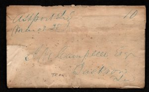 $Tennessee Stampless cover, Ashport March 25, 1843, M/S cancel-contents