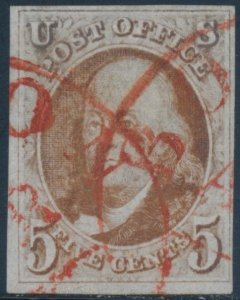 U.S. #1 VF USED EXTREMELY ELUSIVE RED TOWN CANCEL (TINY THIN SPOTS)
