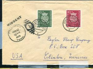 Germany B314-15  cover to USA  MISSENT  - Lakeshore Philatelics