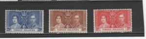 VIRGIN ISLANDS #73-75  1937 CORONATION ISSUE    MINT VF NH O.G  b