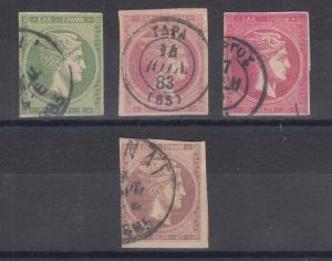 Greece Sc 53/58a used 1880-1882 imperf Hermes Heads, 4 diff, almost VF