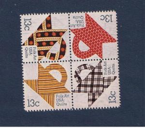 #1745-1748  MNH OG block of 4 Basket Design Quilts  Free S/H