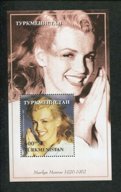 Turkmenistan Commemorative Souvenir Stamp Sheet - Marilyn Monroe Anniversary
