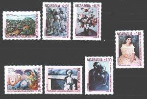 Nicaragua. 1982. 2292-98. Paintings painting. MNH.