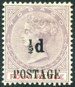 TOBAGO-1896  ½d on 4d Lilac & Carmine Sg 33 MOUNTED MINT V31465