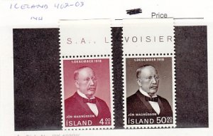 J25773  jlstamps 1968 iceland set mnh #402-3 magnusson checked f/condition