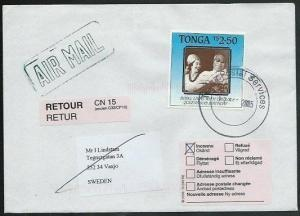 TONGA 2005 airmail cover to Sweden - returned to sender................38098