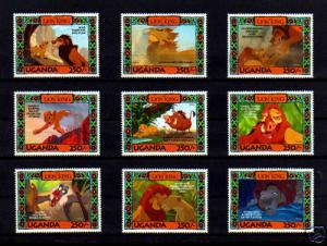 UGANDA - 1994 - DISNEY - LION KING CHARACTERS - 250sh - MINT - MNH SET OF 9!