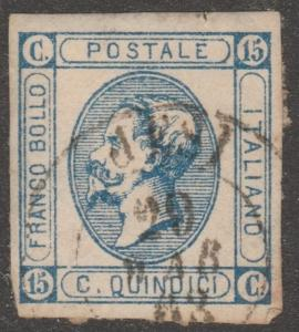 Italy-stamp, Scott#22a, used, imperf, King Victor Emmanuel II, type 1, #M946