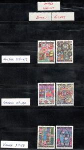 UN 415-16,119-20, 37-38  Human Rights, New York,Geneva,Vienna MNH Free Shipping