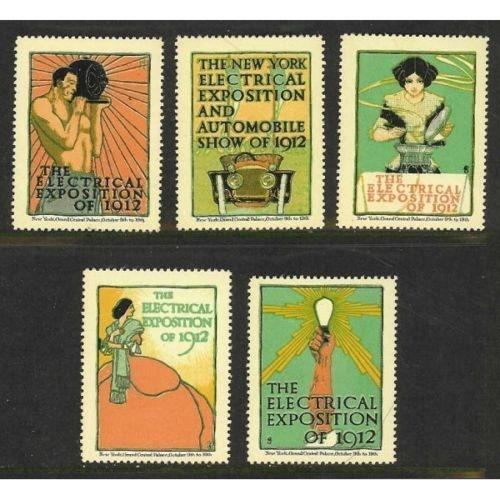 US 1912 NY Elecrical Expo & Auto Show Poster Stamps
