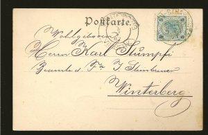 Austria 73a on Postmarked 1903 Winterberg Vimberk Postcard Used