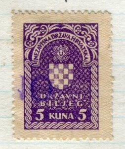 CROATIA; 1940s early classic Revenue/Fiscal issue fine used 5k. value