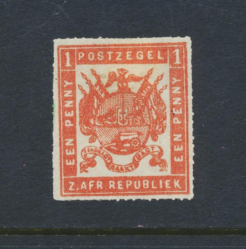 TRANSVAAL 1875, 1d ORANGE RED, ROULETTE, VF MINT SG#46 (SEE BELOW)