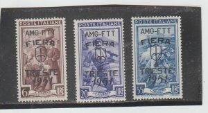 Trieste  Scott#  122-124  MH  (1951 Overprinted)