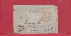 Trans-Atlantic Stampless PAID 1845 cover to Halifax Nova Scotia Canada
