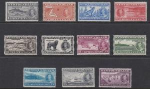 NEWFOUNDLAND 1937  S G 257 - 267  CORONATION SET  MH CAT £60