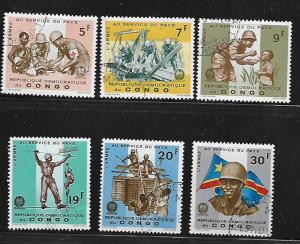 REPUBLIC OF CONGO 553-558 USED C/SET SOLDIERS