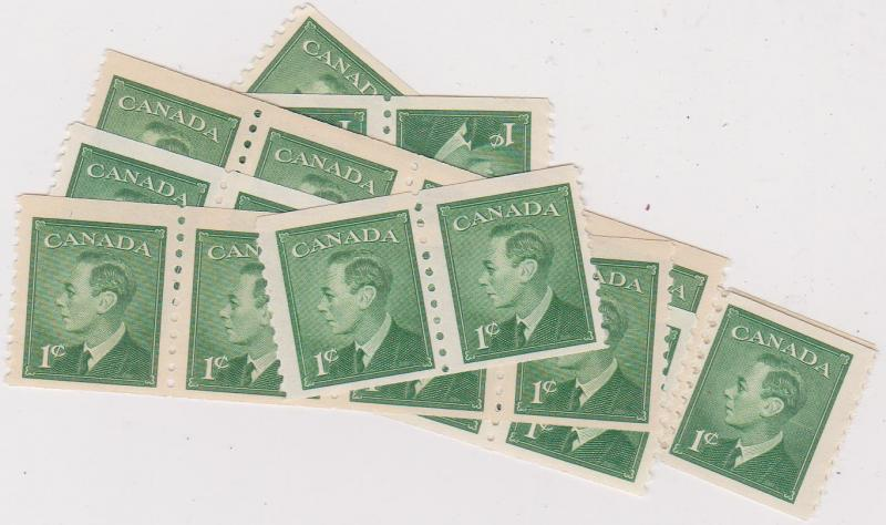 Canada - 1949 1c Green Coil X 50 mint inc. strips #295