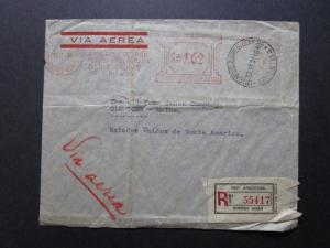 Argentina 1938 Metered Airmail Cover / Registered / Light Fold - Z7550