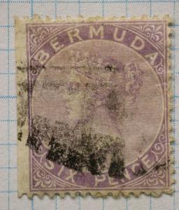 Bermuda sc#5 used six pence 6p violet margin straight edge