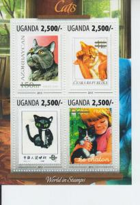 2013 Uganda Cats S.O.S. MS4 (Scott 2071) MNH