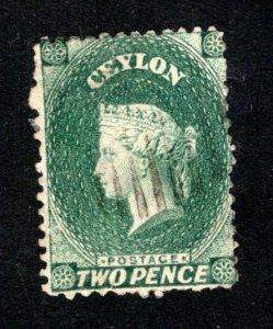 Ceylon #47, F/VF, Used, Wmk. 1a, CV $15.00 ....  1290032