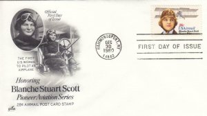 1980, Honoring Blanche Stuart Scott, Artcraft, FDC (D13306)