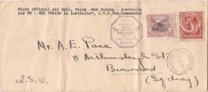 Papua 1934 Ulm first flight cover to Australia (ban)