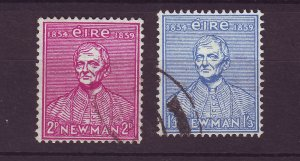 J24562 JLstamps 1954 ireland set used #153-4 newman has scn old scv reverse