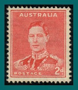 Australia 1938 King George VI, 2d mint  #182,SG184