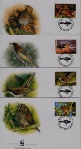 St.Lucia 1132-35 FDC WWF-01/Birds