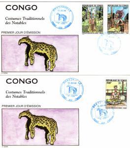 CONGO (Brazzaville) 1996 Sc#1078A/1078C Set (3)  COSTUMES 2 Official F.D.C.