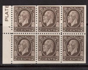 Canada #196bi VF Mint Booklet Pane With Plate In Margin