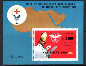 Biafra 31a Pope Paul 1969 Christmas Issue, unused, unissued, Cat $45  ...0680010