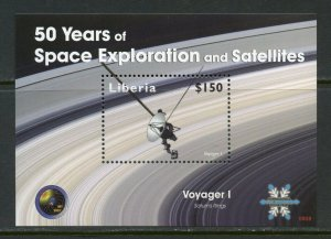 LIBERIA  VOYAGER I 50 YEARS OF SPACE EXPLORATION  S/SHEET MINT NH