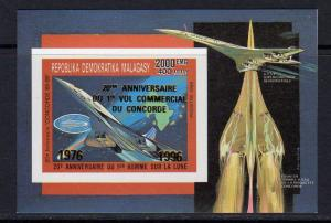 Madagascar 1996 Sc#1304 CONCORDE/HALLEY'S COMET S/S Gold ovpt.IMPERFORATED MNH