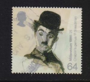 Great Britain 1999 used Millennium Charlie Chaplin 64p.  #