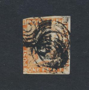 MAURITIUS 1854-7, 1d VERMILLION, INT IMPRESSION,  USED SG#10 Sc#3b (SEE BELOW)
