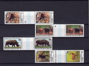 Congo 1978 WWW Animals  Set 6 perforated inter-paneau se-tenant gutter-pairs
