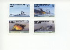 1990 Montserrat WII Battleships (Scott 731-34) MNH