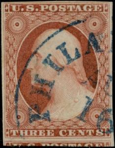 #10A BLUE PHILADELPHIA TOWN CANCEL AUG. 1851 USAGE XF CV $400.00 BP5930