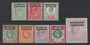 MOROCCO AGENCIES 1907 KEVII set ½d - 2/6