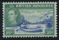 British Honduras  SG 157 SC # 122  Used  Deep blue  shade please see scan