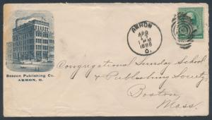 1888 #213 BEACON PUBLISHING Co AKRON CDS ILLUSTRATED ADVT COVER BR3631 HSAM