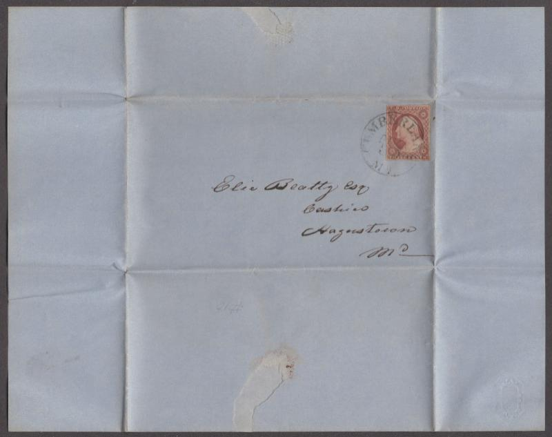 *US 19th Century Cover Scott #10 Folded Letter Tied By Black CDS, Cumberland, MD